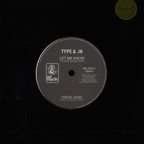 Type & JB - Let me know feat. Nicole Jackson & Shadz
