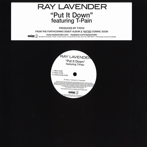 Ray Lavender - Put it down feat. T-Pain