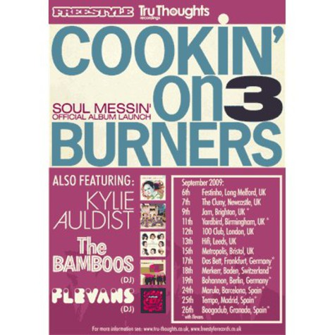 Cookin On 3 Burners, Kylie Auldist, Flevans (DJ) & The Bamboos (DJ) - Konzertticket für Berlin, 19.09.2009 @ Bohannon