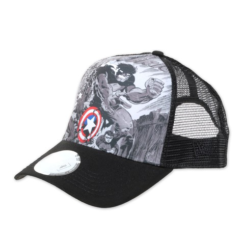 fe3b042b9dbfb New Era X Marvel - Captain America Vs Hulk Trucker Hat (Black ...