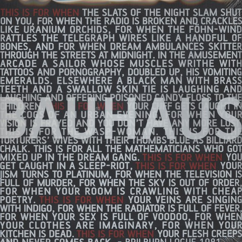 Bauhaus - This Is For When ... Live 1981 Limited Edition Box