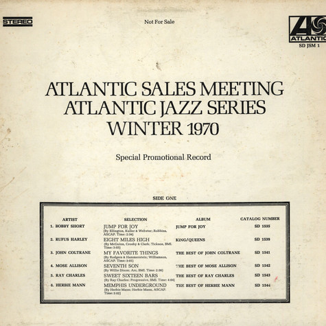 V.A. - Atlantic Sales Meeting (Jazz Series)  Winter 1970