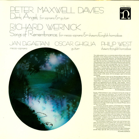 Peter Maxwell Davies / Richard Wernick - Dark Angels / Songs Of Remembrance