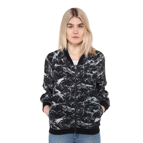 A Question Of - Black & White Marble Reversible Bomber Jacket