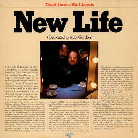 Thad Jones & Mel Lewis - New Life (Dedicated To Max Gordon)