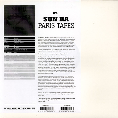 Sun Ra Arkestra, The - The Paris Tapes: Live At Le Théâtre Du Châtelet 1971