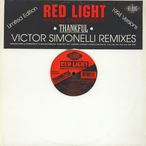 Red Light Featuring David Gordon - Thankful (Victor Simonelli Remixes)