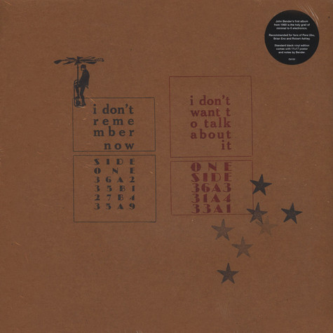 John Bender - I Don't Remember Now / I Don't Want To Talk About It Black Vinyl Edition
