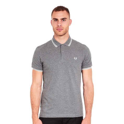 481e52e4 Fred Perry. Twin Tipped Fred Perry Polo Shirt___ALT (Grey Marl / Snow White)