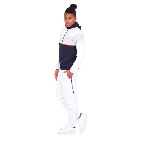 5d8bab123 Lacoste - Diamond Weave Taffeta Track Suit (White   Navy Blue   Etna ...