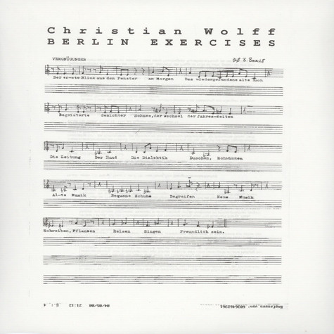 Christian Wolff - Berlin Exercises