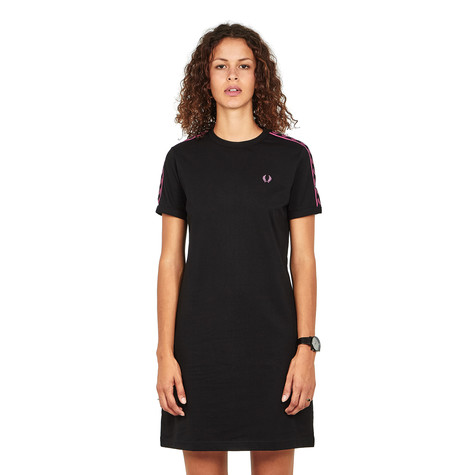Fred Perry - Taped Ringer T-Shirt Dress (Black   Pink)   HHV f68dd79557f7