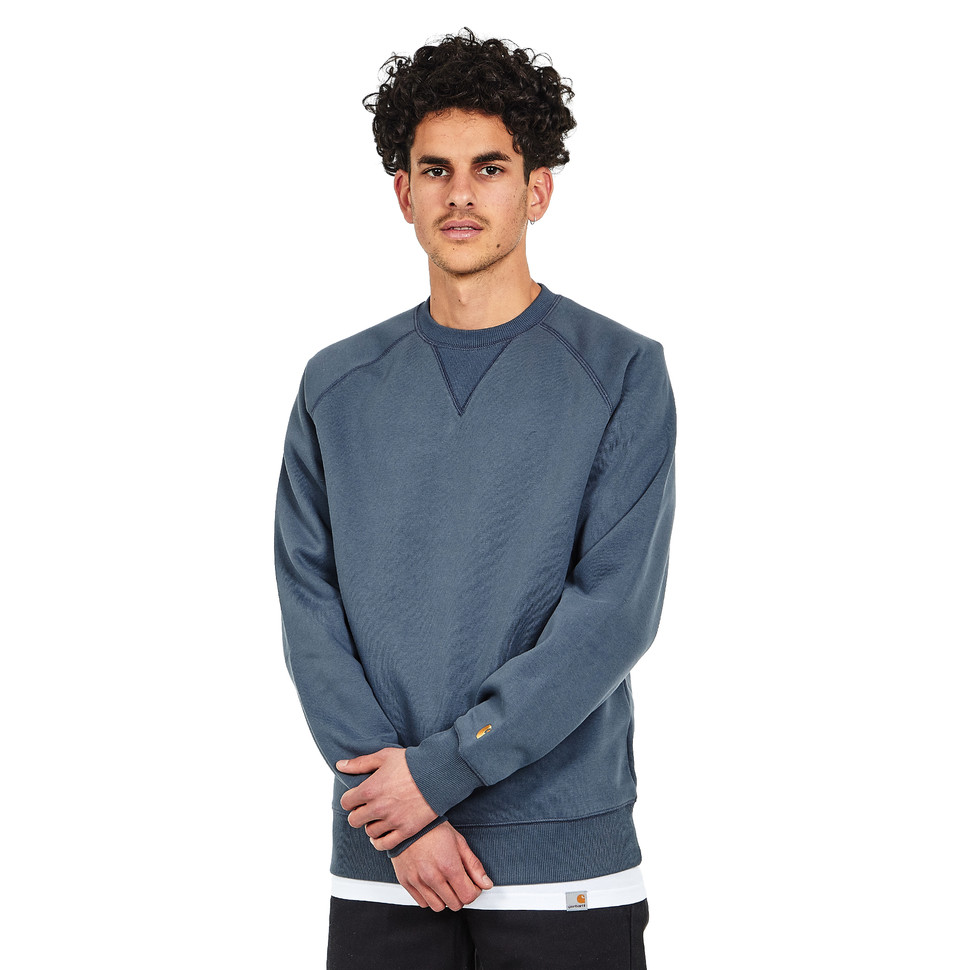 92190552830e4 CARHARTT WIP - Chase Sweat Stone Blue   Gold Pullover Rundhals - EUR ...
